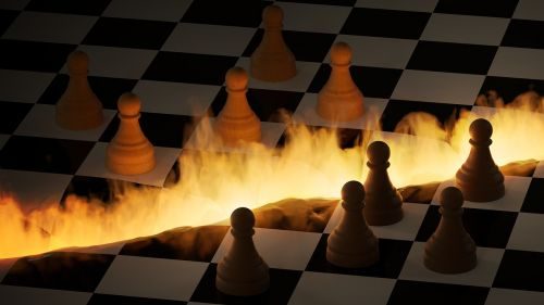 chess board figures fire