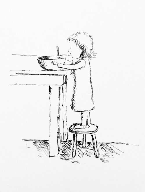 child little girl cooking