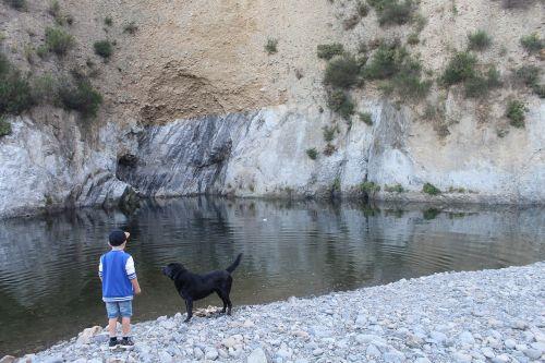 vaikas,šuo,žaisti,gyvūnai,šeimos gyvenimas,mažas,berniukas,įspūdis,upė,akmenys,Rokas,geriausias žmogaus draugas,apmąstymai,Naujoji Zelandija
