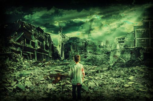 child lost in war destroyed city