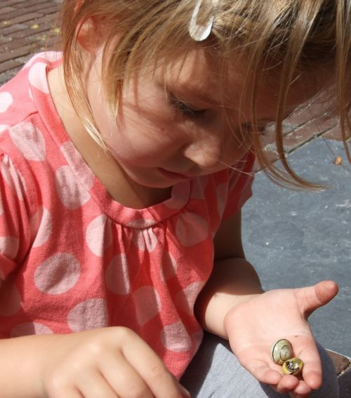 child snails play