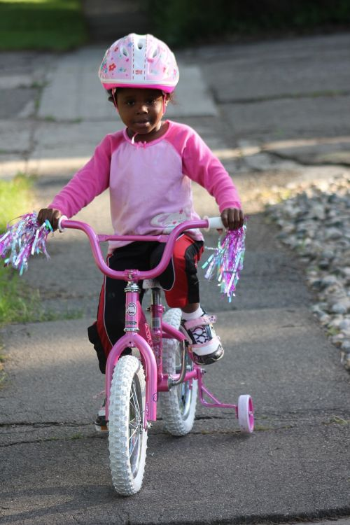child biking african american family bike
