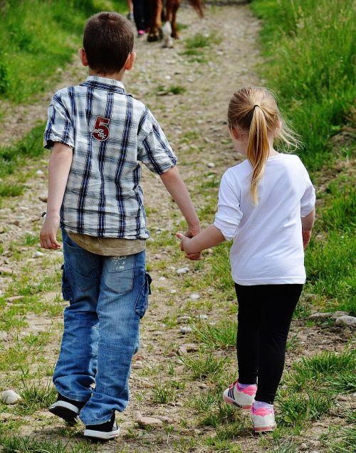 children hand in hand cute