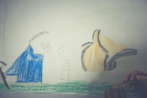 children drawing paint