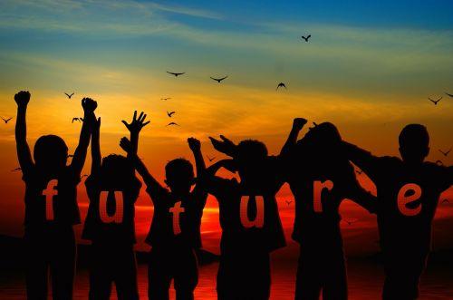 children silhouette cheers