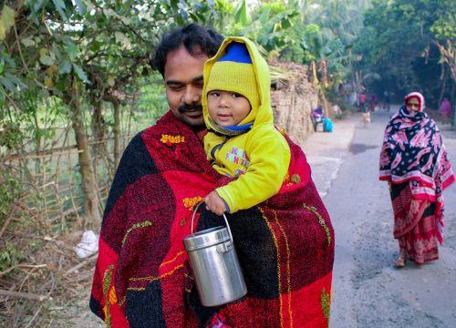children lap cold winter morning