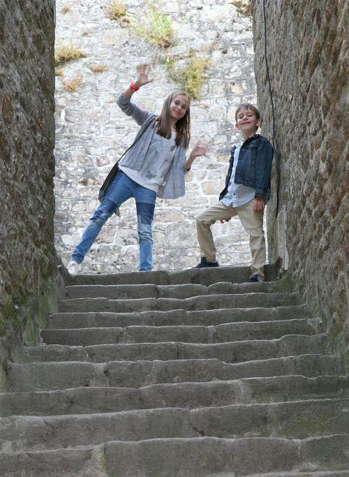 children stairs joyful
