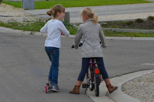 children girls bicycle