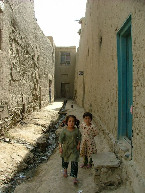 children mud houses kabul