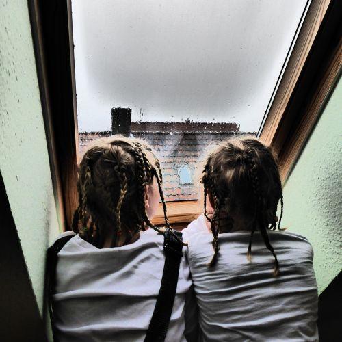 children rainy weather roof windows