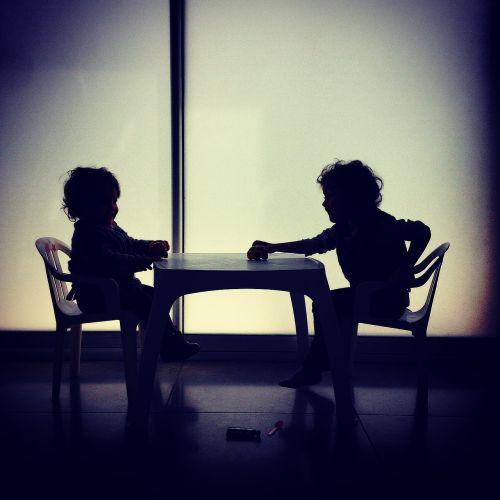 children shadows lights