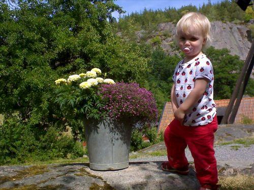 children flowers bucket