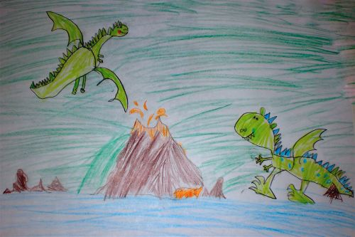 children drawing dragons volcano