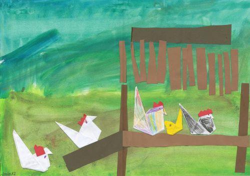 children drawing chickens chicken run