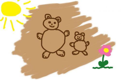 children drawing bear sun