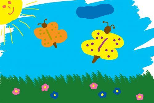 children drawing butterflies meadow