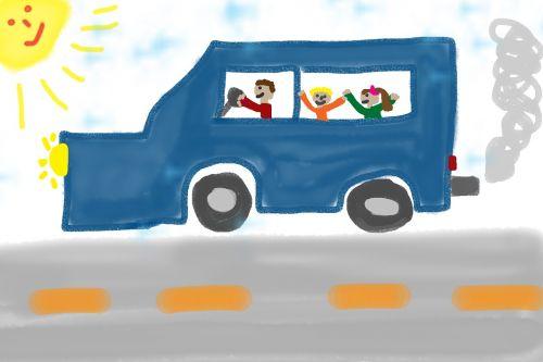 children drawing auto road
