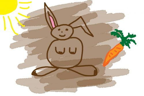 children drawing hare carrot
