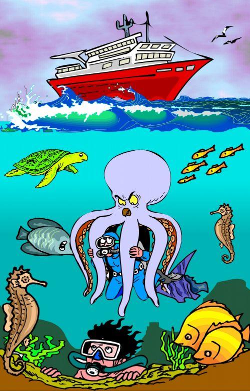 Children Fun Illustration Octopus