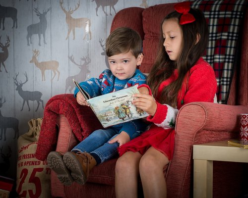 children reading  holiday  christmas