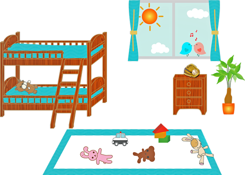 children's bedroom  bunk bed  window