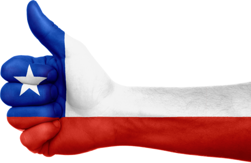 chile flag hand