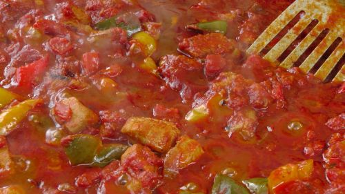 Chili And Meat Frying