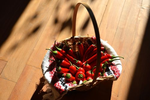 chilli pepper red chilli wicker basket