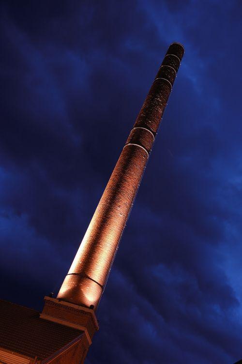 kaminas,industrija,plytos,bokštas,gamykla,Schorndorf,Arnold apygarda,naktinė nuotrauka,abendstimmung