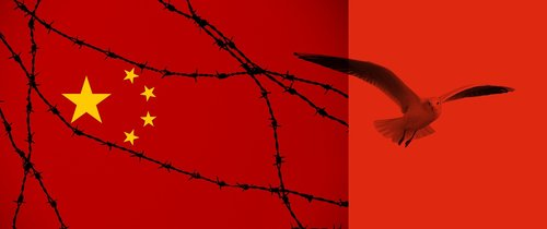 china  flag  barbed wire