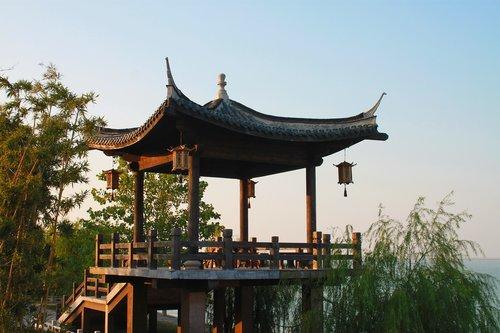 china  taihu lake  wood pavilion