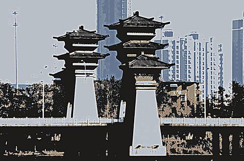 architektūra, pastatai, bokštas, bokštai, vartai, Kinija, plakatas, posterizavimas, kraštovaizdis, Kinijos architektūra