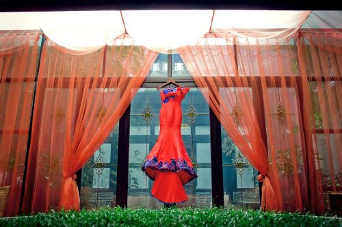 china wind bride dress red