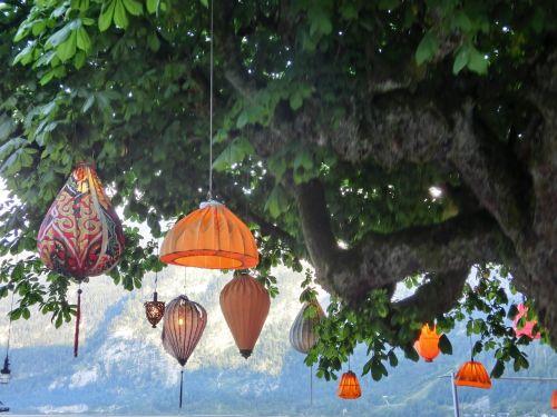 chinese lanterns lamps tree