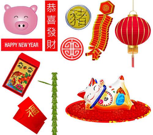 chinese new year  year of the pig  firecrackers