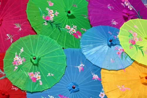 chinese umbrellas screens colorful