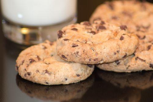 chocolate chip cookies milk food
