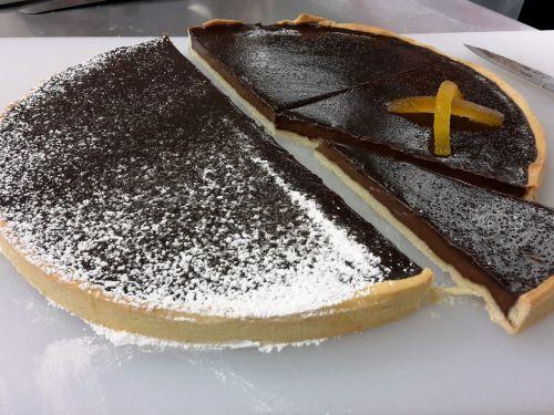 chocolate pie orange cutting pie