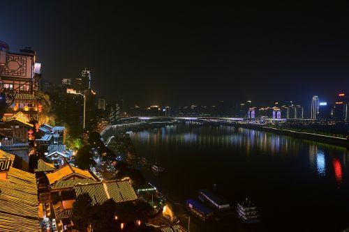 chongqing night hongya cave huang garden bridge