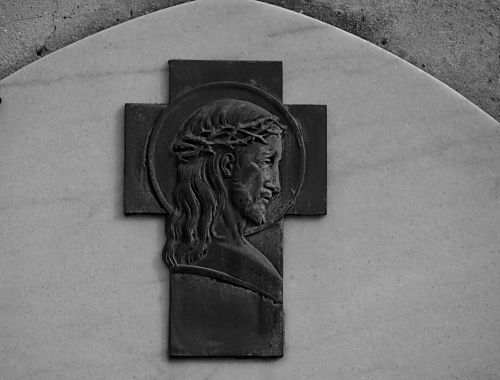 christ black and white sculpture