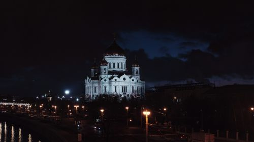 christ the savior cathedral moscow night city