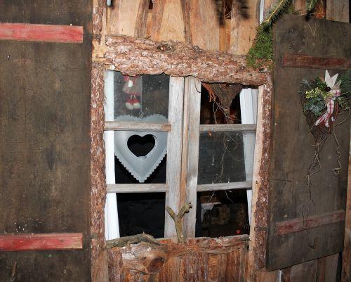 christmas wooden windows hut