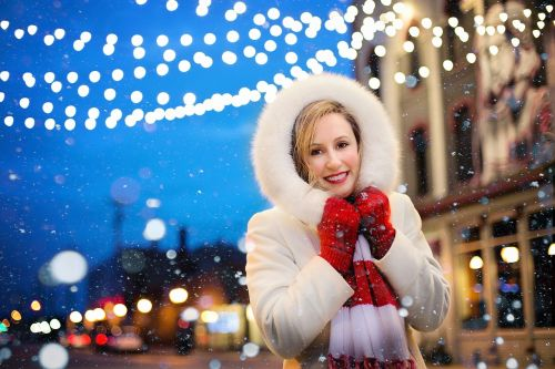 christmas lights snow
