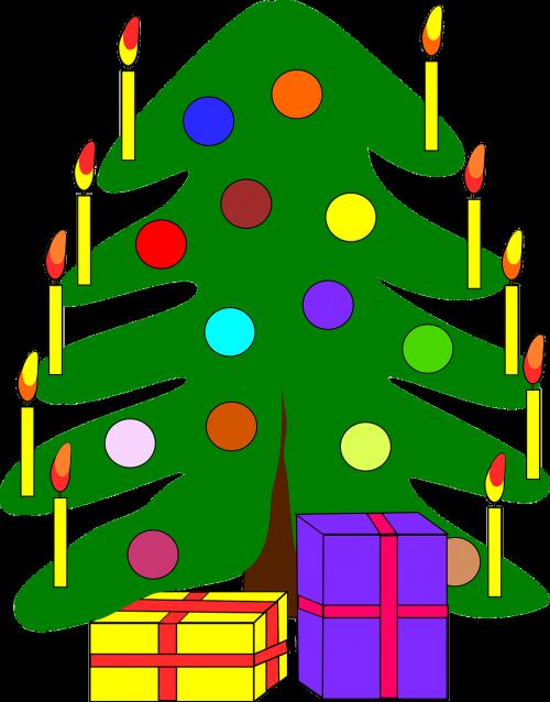 Kalėdos,medis,papuoštas,žvakės,dovanos,šventė,sezoninis,gruodžio mėn .,pušis,šventinis,izoliuotas,žibintai,eglė,linksmas,dekoratyvinis,tradicija,atostogos,nemokama vektorinė grafika