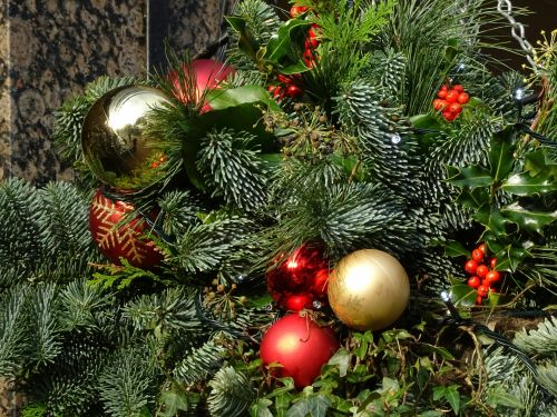 Christmas Baubles And Holly
