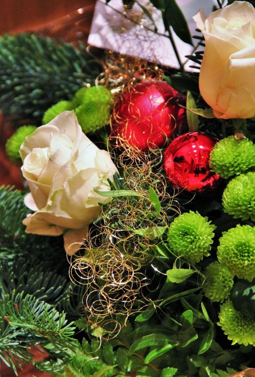 christmas bouquet christmas red balls