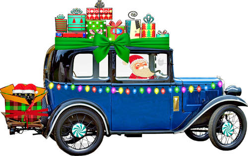 christmas car  gifts  cats