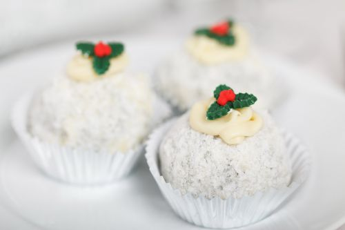 Christmas Dessert With Holly