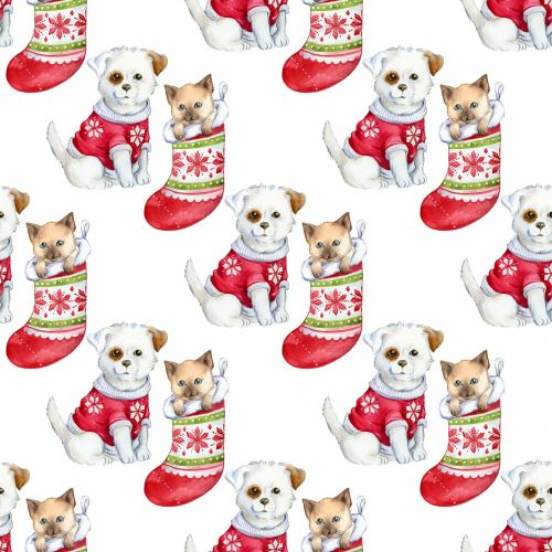 Christmas Dog & Cat Background