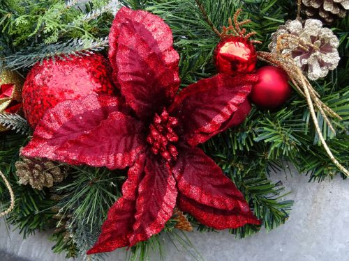Christmas Flower And Baubles